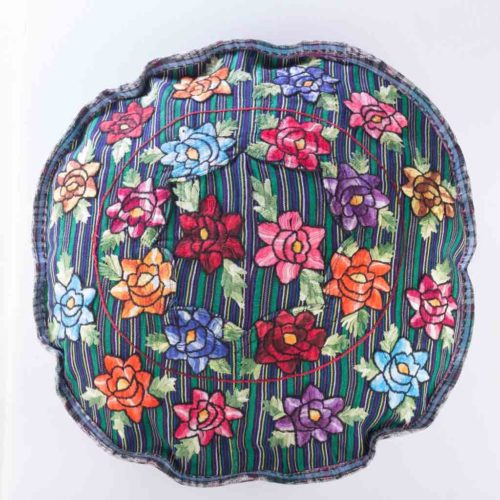 Round Huipil Pillow Cover