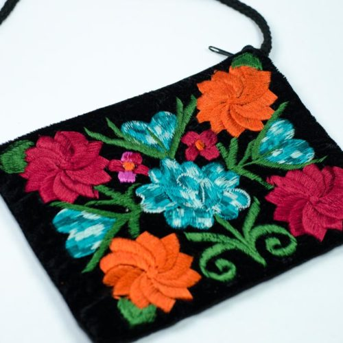 "Embroidered Velvet Pouch ""M"""