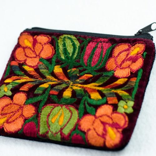 "Embroidered Velvet Pouch ""S"""