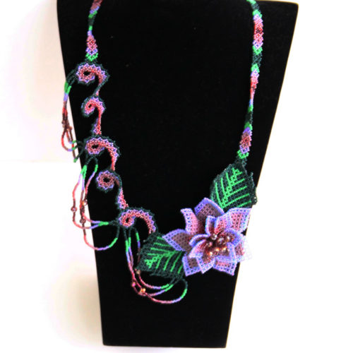 Zig Zag Sideways Flower Necklace