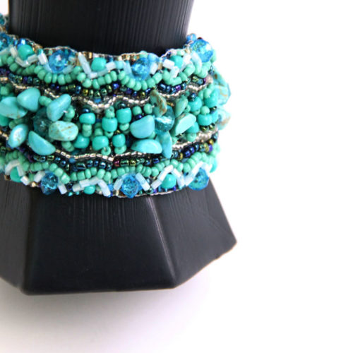 Wide Carpet Beaded Bracelet
