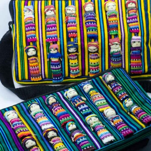 """Crossbody Pouch with Worry Dolls """"L"""""""