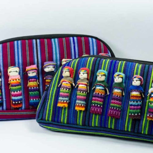 "Halfmoon Zuni Pouch With Worry Dolls  ""L"""