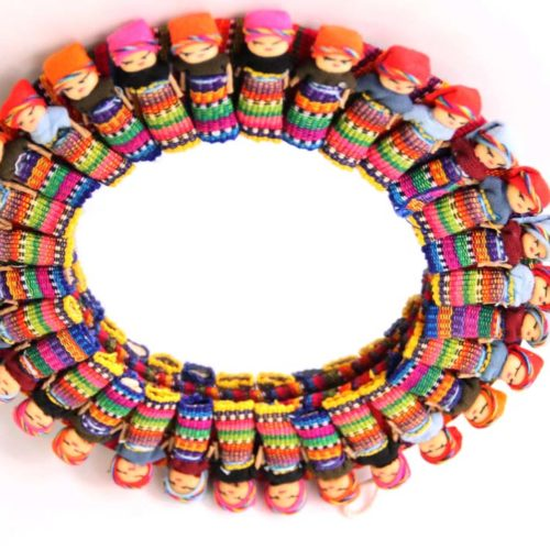 Round Mirror with Large Worry Dolls