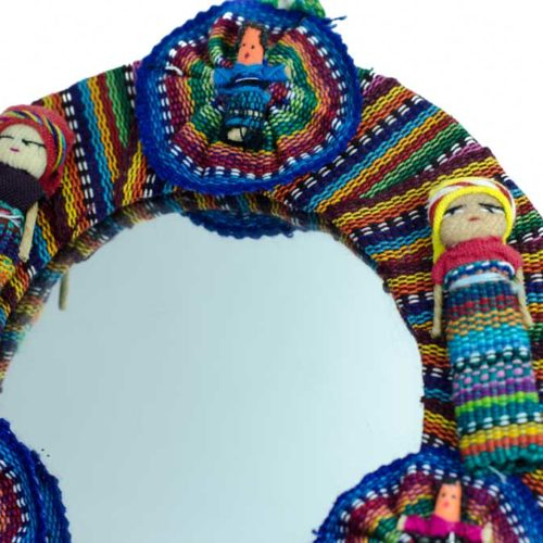 Round Mirror with Mini Worry Dolls