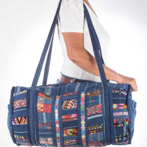 "Denim Patch Work Duffel Bag ""L"""