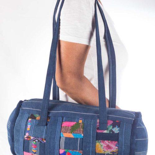 """Denim Patch Work Duffel Bag """"M"""""""