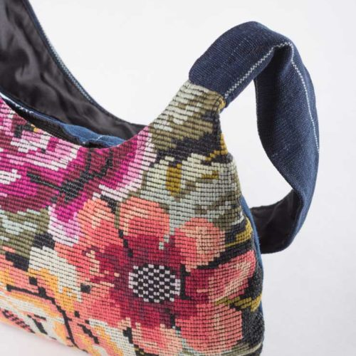 Floral Oval Design Shoulder Bag