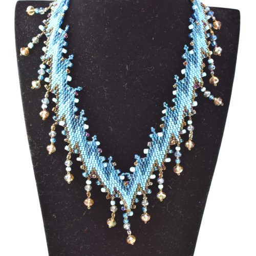 Lightning Bolt Design Beaded Necklace