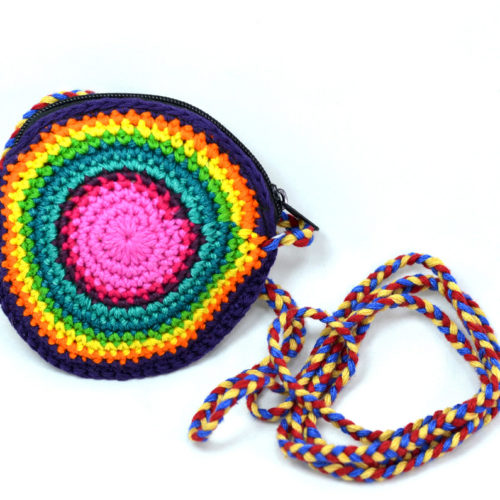 Round Crochet Coin Purse with Strap