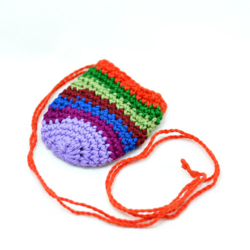"Doz. Oval  Crochet Crystal Pouches ""S"""