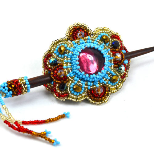 "Beaded Barrete with Stick ""S"""