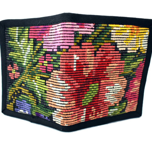 Double Fold Flowered Huipil  Wallet