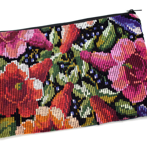 "Single Side Flower Design Cosmetic Bag ""L"""