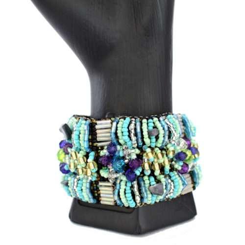 Wide 4 Squares Beaded Bracelet