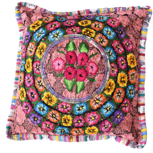 "Mixed Huipil Pillow Cover ""S"""
